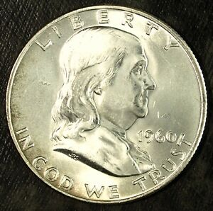 1960 D FRANKLIN SILVER HALF DOLLAR  UNCIRCULATED  FROM US MINT SET 404