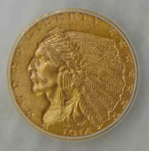 1914 D GOLD $2.5 INDIAN HEAD QUARTER EAGLE ICG MS 62   BEAUTIFUL COIN