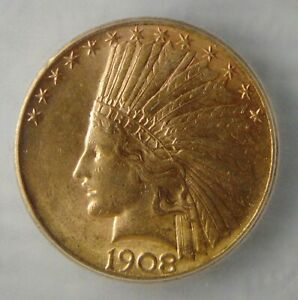 KEY DATE 1908 D GOLD EAGLE INDIAN HEAD $10 COIN 1/2 OZ. ICG MS62