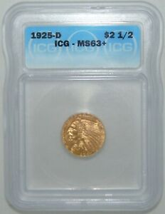 1925 D GOLD $2.5 INDIAN HEAD QUARTER EAGLE ICG MS63    BEAUTIFUL COIN