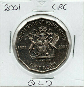 2001 AUSTRALIAN 50 CENT CENTENARY OF FEDERATION 'QUEENSLAND' CIRCULATED COIN