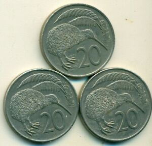 3 DIFFERENT 20 CENT COINS W/ KIWI BIRD FROM NEW ZEALAND  1979 1980 & 1981