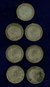 CANADA  GEORGE V  10 CENTS SILVER COINS: 1917 1930 1932 & 1936