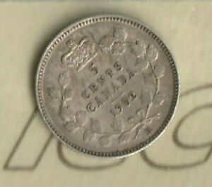 1902 H KING EDWARD  CAMEO  CANADA 5 CENTS  NICKEL   92.5  AG  ICCS: EF 40