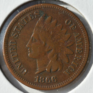 1866 1C INDIAN CENT IHC TOUGH DATE CIRCULATED CHOICE FINE VF/XF