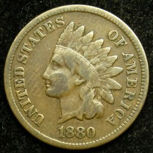 1880 INDIAN HEAD CENT PENNY VG GOOD  B01