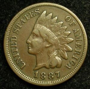 1887 INDIAN HEAD CENT PENNY F FINE  B01
