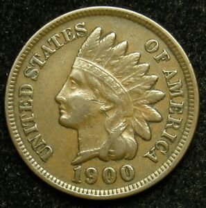 1900 INDIAN HEAD CENT PENNY VF FINE  B01