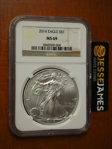 2014 $1 AMERICAN SILVER EAGLE NGC MS69 CLASSIC BROWN LABEL