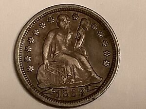 1853. ARROWS SEATED  DIME AU  VALUE $165