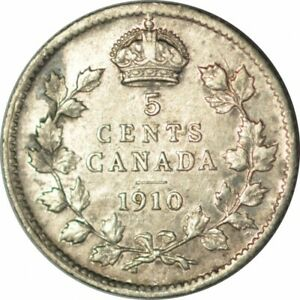 1910 CANADA FIVE CENTS SILVER  POINTED LEAVES VARIETY  HIGH GRADE CIRC  D546UUQX