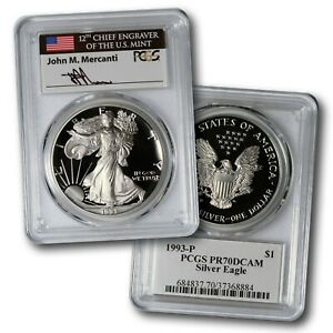 Click now to see the BUY IT NOW Price! 1993 P PROOF SILVER EAGLE PCGS PR70 DCAM JOHN MERCANTI SIGNED