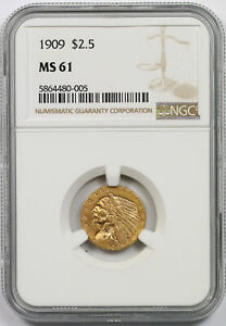 1909 INDIAN HEAD QUARTER EAGLE GOLD $2.5 MS 61 NGC