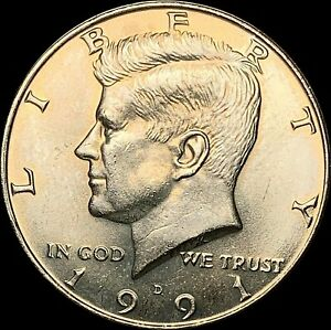 1 1991 D KENNEDY HALF DOLLAR UNCIRCULATED CONDITION   FAST SHIPPING