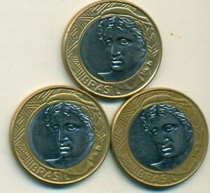 3 DIFFERENT BI METAL 1 REAL COINS FROM BRAZIL  2003 2006 & 2008