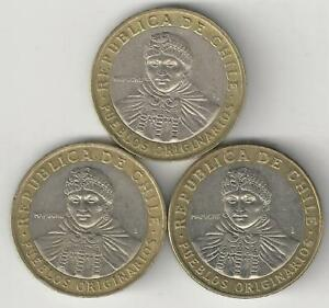 3 DIFFERENT BI METAL 100 PESO COINS FROM CHILE  2008 2010 & 2012