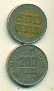 2 DIFFERENT COINS FROM COLOMBIA   200 PESO & BI METAL 500 PESO  BOTH 1994