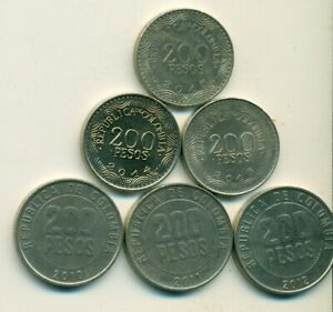 6 DIFFERENT 200 PESO COINS FROM COLOMBIA W/ CONSECUTIVE DATES OF 2010 TO 2015