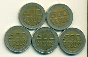5 BI METAL 500 PESO COINS FROM COLOMBIA  1995 2003 2004 2006 & 2010
