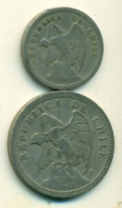 2 DIFFERENT COINS FROM CHILE   1929 20 CENTAVOS & 1933 1 PESO
