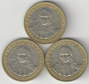 3 DIFFERENT BI METAL 100 PESO COINS FROM CHILE  2005 2006 & 2010