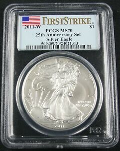 Click now to see the BUY IT NOW Price! 2011 W BURNISHED SILVER EAGLE 25TH ANNIVERSARY SET PCGS MS 70 FIRST STRIKE