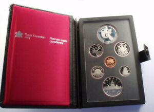 ROYAL CANADIAN MINT PROOF SET   1983 KM PS3 IN LEATHER CASE WITH COA.