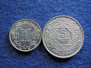 AH1370   1950 FRENCH MOROCCO 1 & 5 FRANCS   CHOICE BRIGHT UNCIRCULATED