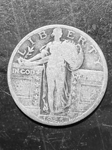 1925 STANDING LIBERTY 90  SILVER QUARTER COIN