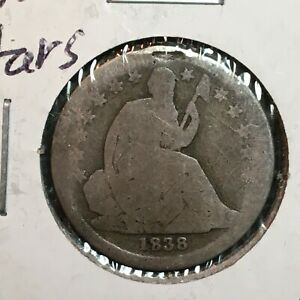 1838  STARS   LIBERTY SEATED DIME