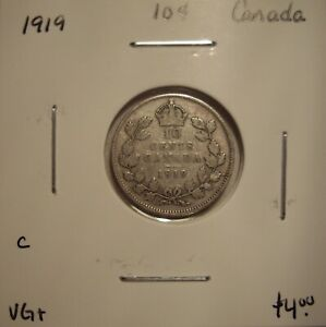 C CANADA GEORGE V 1919 SILVER TEN CENTS   VG