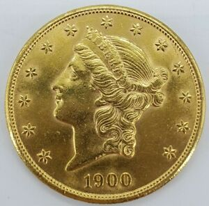 1900 US MINT CORONET HEAD GOLD $20 DOUBLE EAGLE LIBERTY HEAD COIN