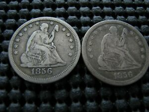 1856 MPD IN SKIRT VARIETY AND 1856 SEATED QUARTER WITH INTERNAL CUD OBVERSE