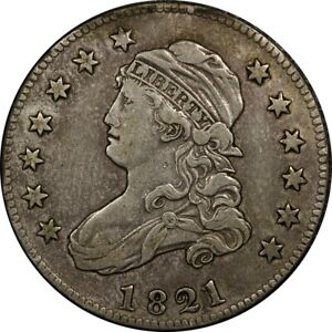 1821 25C CAPPED BUST SILVER QUARTER EF XF ORIGINAL  OLD TYPE COIN MONEY