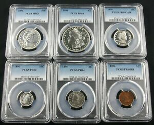 Click now to see the BUY IT NOW Price! 1896 PROOF SET PCGS PR 64 & PR 63 COMPETE SIX COIN SET