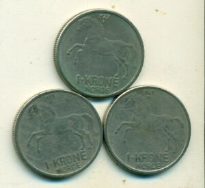 3 DIFFERENT 1 KRONE COINS W/ HORSE FROM NORWAY  1959 1967 & 1969