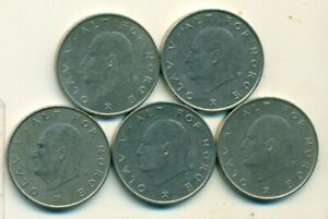 5 DIFFERENT 1 KRONE COINS FROM NORWAY  1974 1975 1976 1977 & 1978