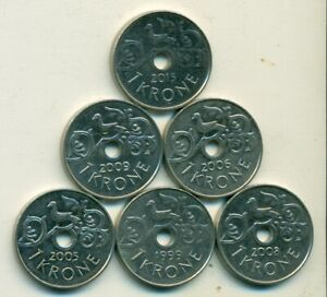 6 DIFFERENT 1 KRONE COINS FROM NORWAY  1999 2005 2006 2008 2009 & 2015