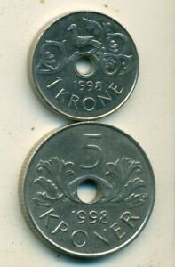 2 DIFFERENT COINS FROM NORWAY   1 & 5 KRONE  BOTH DATING 1998
