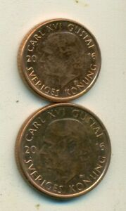 2 DIFFERENT COINS FROM SWEDEN   1 & 2 KRONA  BOTH DATING 2016
