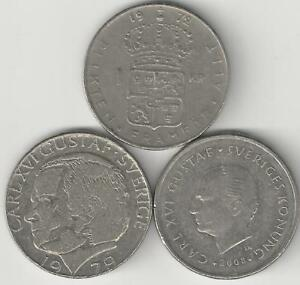 3 DIFFERENT 1 KRONA COINS FROM SWEDEN   1972 1979 & 2008  3 TYPES