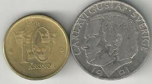 2 DIFFERENT COINS FROM SWEDEN   1 & 10 KRONA  BOTH DATING 1991