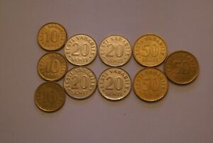 10 DIFFERENT COINS FROM ESTONIA  3 DIFFERENT DENOMINATIONS