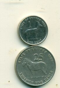 2 COINS FROM ERITREA   1 CENT & 25 CENT  BOTH DATING 1997 ..25 CENT W/ ZEBRA