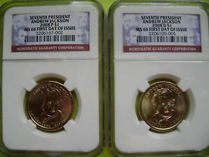 2008 P&D ANDREW JACKSON NGC MS66 FDI 2 COIN BUSINESS STRIKE DOLLAR SET