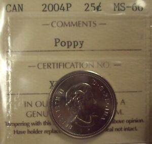 SUPER GEM CANADA ELIZABETH II 2004P POPPY 25 CENT   ICCS MS 66