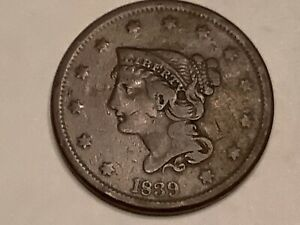 1839. LARGE CENT BOOBY HEAD VF VALUE $135