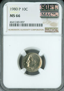 Click now to see the BUY IT NOW Price! 1980 P ROOSEVELT DIME NGC MAC MS 66 90FT  SPOTLESS  $10 000 IN FT .