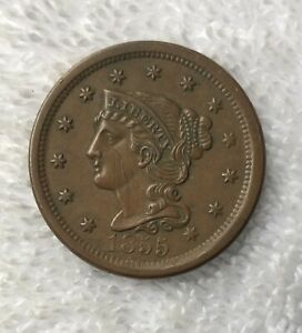 1855 BRAIDED HAIR LARGE CENT AU ABOUT UNCIRCULATED