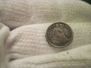 1858 SEATED HALF DIME HOLED TYPE COIN